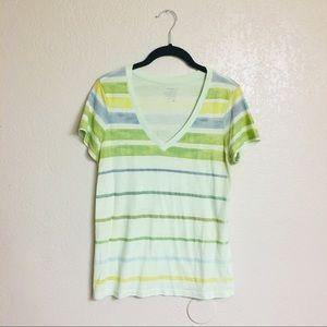 Old Navy Green/Blue Striped V-neck Shirt (Small)